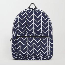 Herringbone Blue And White Backpack