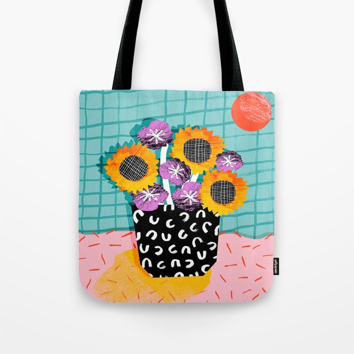 Wowsers - abstract retro throwback still life floral vase flowers grid memphis patterns Tote Bag
