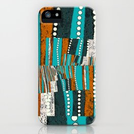 Teal and rustic brown abstract iPhone Case