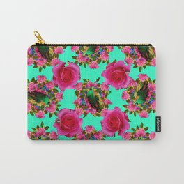 GREEN PEACOCK & PINK ROSE PATTERN ART Carry-All Pouch
