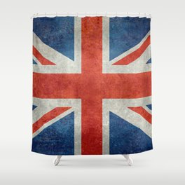 Union Jack flag, grungy retro 1:2 scale Shower Curtain