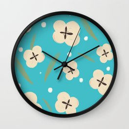 Cotton flower pattern with blue background Wall Clock