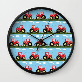 Toy tractor pattern Wall Clock