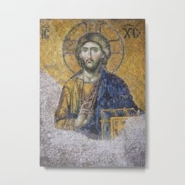 Religious mosaics on the wall coming out under the plaster of the original Byzantine Hagia Sofia in  Metal Print