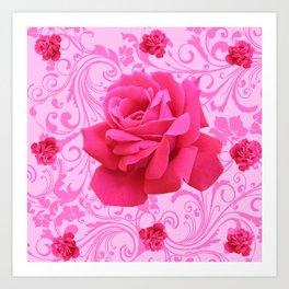 BEAUTIFUL  PINK ROSE SCROLLS GARDEN ART Art Print