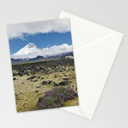 Beautiful mountain landscape, view volcano and tundra on Kamchatka Peninsula Stationery Cards