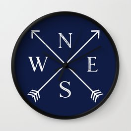 Navy Blue and White Compass Arrows Wall Clock