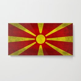 "Flag of Macedonia in ""Super Grunge"" Metal Print"