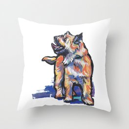 Fun Cairn Terrier Dog bright colorful Pop Art by LEA Throw Pillow