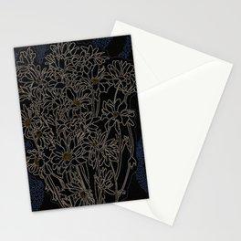 Daisy Chrysanthemum,  black Stationery Cards