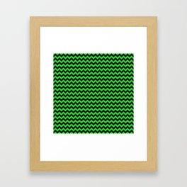 Dark Black and Bright Monster Green Halloween Chevron Stripes Framed Art Print