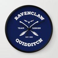 quidditch Wall Clocks featuring Ravenclaw Quidditch Team Seeker: Blue by Sharayah Mitchell