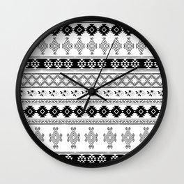 Black & White Primitive Pattern Wall Clock