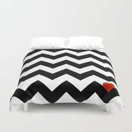 Heart & Chevron - Black/Classic Red Duvet Cover