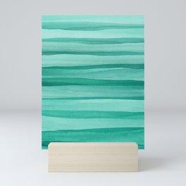 Green Watercolor Lines Pattern Mini Art Print