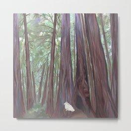 Sitting Among the Redwoods Illustration Metal Print