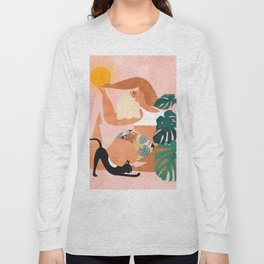 Tropical Yoga, Bohemian Woman Cat Pet Monstera Watercolor Painting, Blonde Quirky Illustration Long Sleeve T-shirt