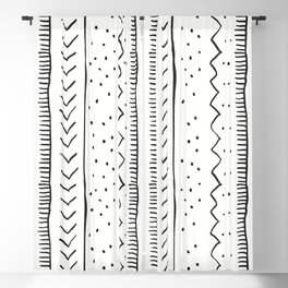 Moroccan Stripe in Cream and Black Blackout Curtain