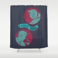 dean winchester Shower Curtains featuring [ Supernatural ] Destiel Castiel Dean Winchester by Vyles