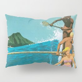 Hawaii, Diamond Head Oʻahu Outrigger United Airlines Vintage Travel Poster Pillow Sham
