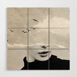 minimal collage /silence Wood Wall Art