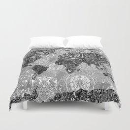 world map mandala black and white 1 Duvet Cover