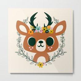 Deer with Flowers / Cute Animal Metal Print