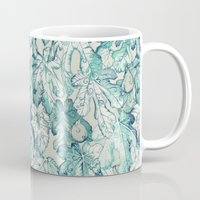 fig Mugs featuring Fig Leaf Fancy - a pattern in teal and grey by micklyn