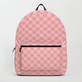 Back to School - Simple Diagonal Grid Pattern - White & Coral - Mix & Match with Simplicity of Life Backpack