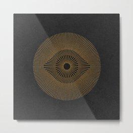 EYE OF THE SUN GOLD BLACK Metal Print