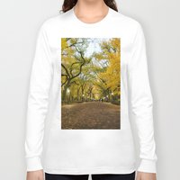 literary Long Sleeve T-shirts featuring Central Park New York City by Vivienne Gucwa