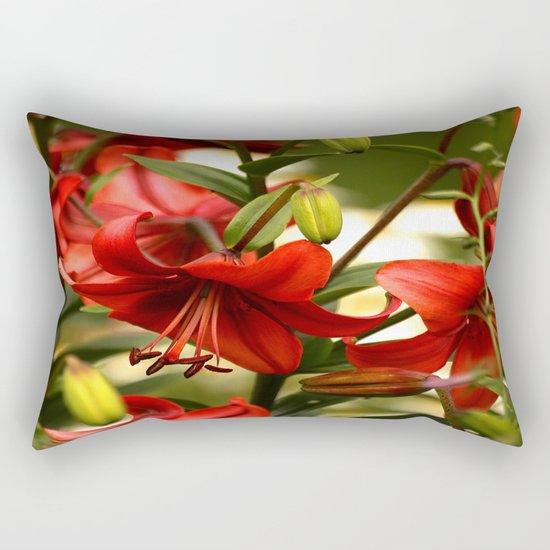 Red Lilies  Rectangular Pillow