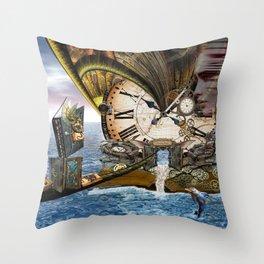 Steampunk Ocean Dragon Library Throw Pillow