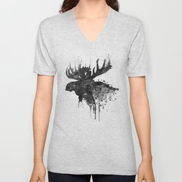 Black and White Moose Head Watercolor Silhouette Unisex V-Neck