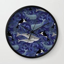 Beautiful Ocean Giants - purple Wall Clock