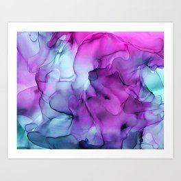 Abstract Mermaid Magenta Indigo Blue Ink Painting Art Print