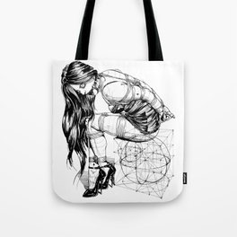 Lady on Cube Tote Bag