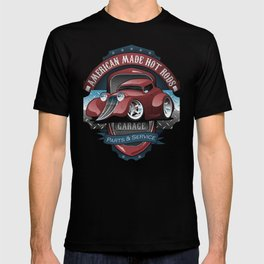 American Hot Rods Garage Vintage Car Sign Cartoon T-shirt