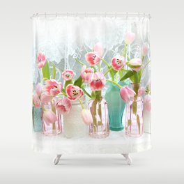 Shabby Chic Cottage Pink Garden Tulips Flowers In Bottles Jars Romantic Cottage Prints Wall Art Home Decor Gift Decor Shower Curtain