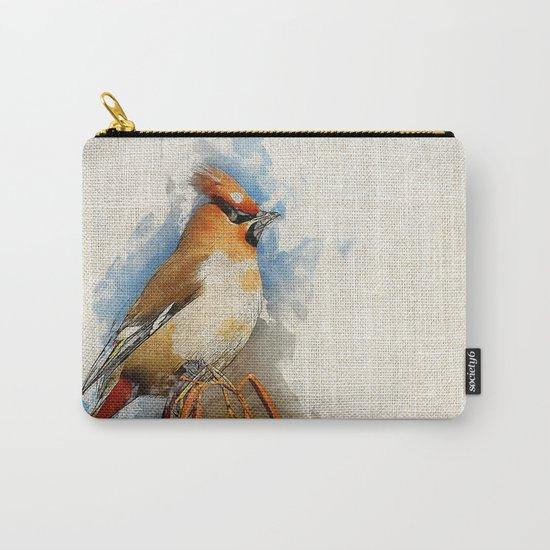 Watercolor Bird - Bohemian waxwing(Bombycilla garrulus) Carry-All Pouch