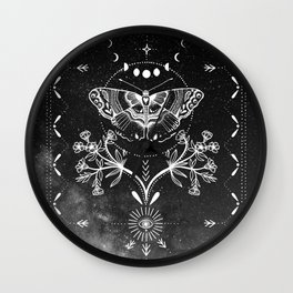 Magical Moth Black Wall Clock