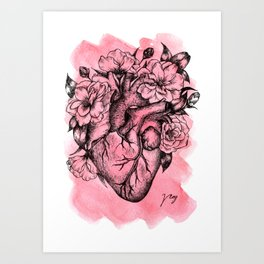 Floral Heart Watercolor Art Print