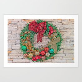Dreamy Holiday Wreath Art Print