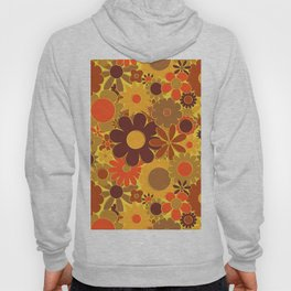 Funky Daisy Floral in Electric Orange Hoody