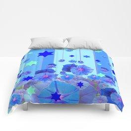 STARS & BLUE MORNING GLORIES RAIN POP ART Comforters