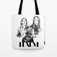 haim Tote Bags featuring Haim the band by Mariam Tronchoni