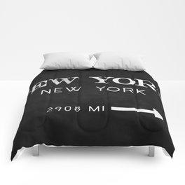 black watercolor new york new york Comforters