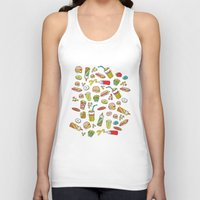 junk food Tank Tops featuring Awesome retro junk food icons by Little Smilemakers Studio
