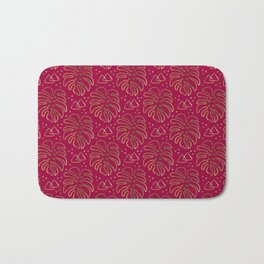 Gold Monstera on Rasberry Pink Bath Mat