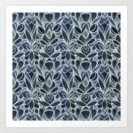 Ballpoint Pattern in Indigo Art Print